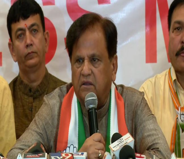 Senior Congress leader Ahmed Patel speaking to media persons in Rajkot on Saturday. Photo/ANI