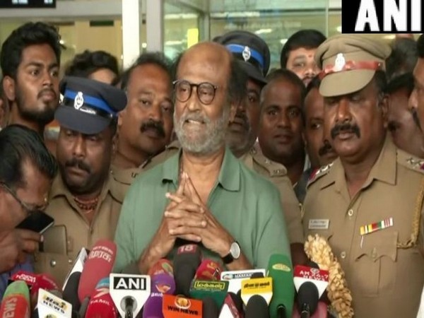 Rajnikanth while speaking to the reporters in Chennai on Thursday(Photo/ANI)