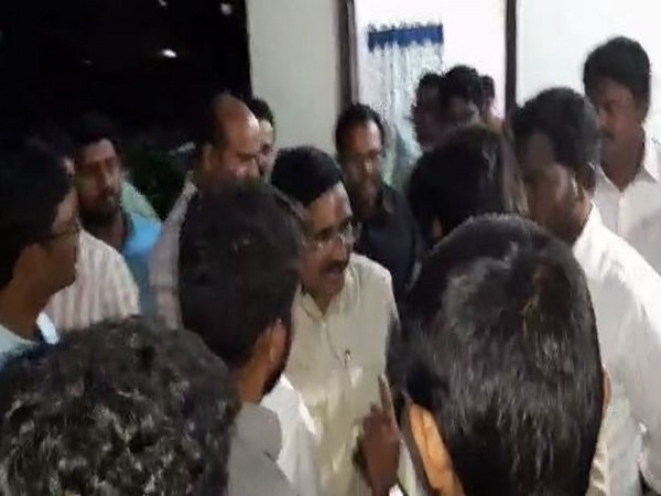 Former minister and founder of Narayana group of educational institutions P Narayana amid the argument (Photo/ANI)
