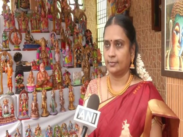 Nandini Venkatesh a resident of Nollambur, Chennai decorated her house with hundreds of 'Bommai Golu' dolls depicting various themes, as part of Navratri celebrations. (Photo/ANI)