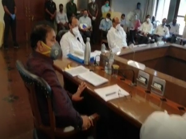 Nationalist Congress Party (NCP) chief Sharad Pawar chaired a meeting in Pune to review the COVID-19 situation (Photo/ANI)