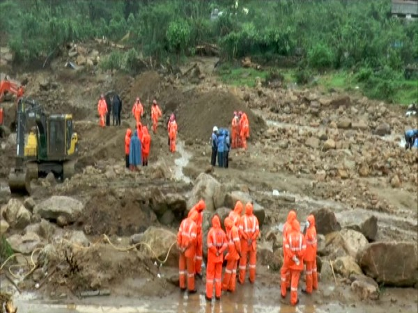 Rescue operations underway at the site of the Rajamala landslide. (Photo/ANI)