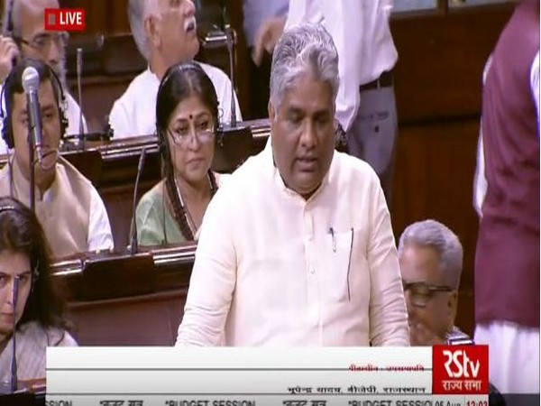 Bharatiya Janata Party general secretary Bhupender Yadav speaking in Rajya Sabha on Moday (Photo: RSTV)