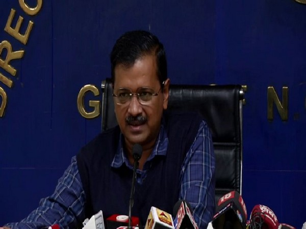 Delhi Chief Minister Arvind Kejriwal speaking to reporters at a press conference in New Delhi on Monday. Photo/ANI