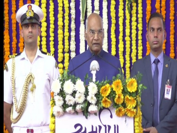 President Kovind was speaking after laying the foundation stone of various works on Monday in Daman and Diu. Photo/ANI