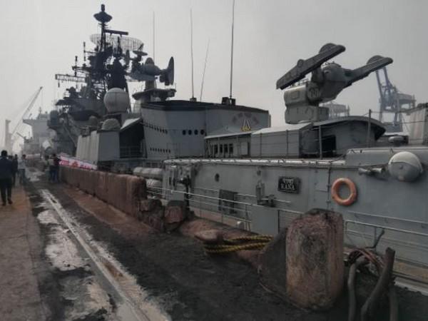 A view of Naval ship 'Rana' at Paradip Port on Sunday. Photo/ANI