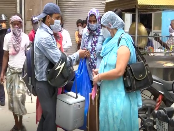 Serology survey sample being collected by medical team in Motia Khan and Paharganj area, Delhi (Photo/ANI)
