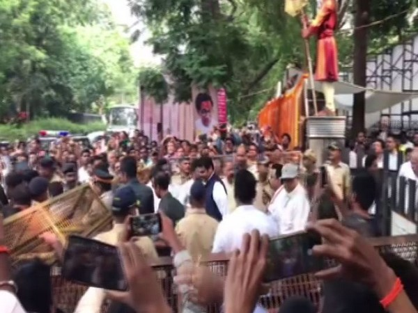 Former chief minister Devendra Fadnavis leaving after paying his respects to Balasaheb Thackeray on his death anniversary (Photo/ANI)
