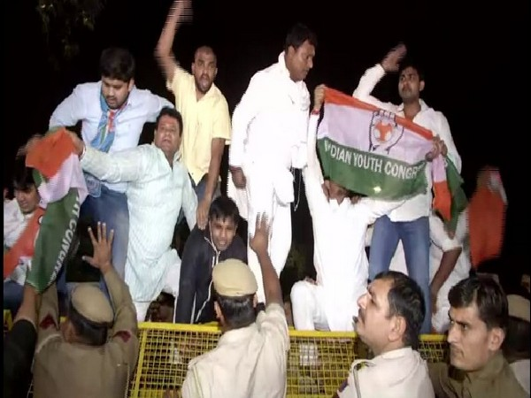 Indian Youth Congress organised a protest against Home Minister Amit Shah on Friday in New Delhi. Photo/ANI