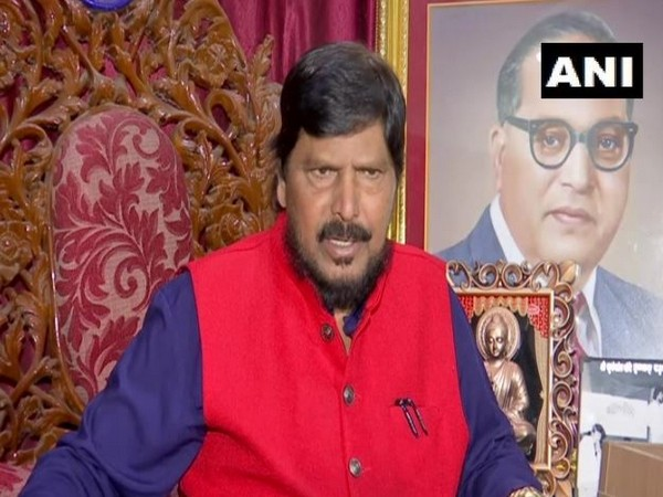 Union Minister and Republican Party of India (RPI) President Ramdas Athawale while speaking to the reporters on Sunday (Photo/ANI)