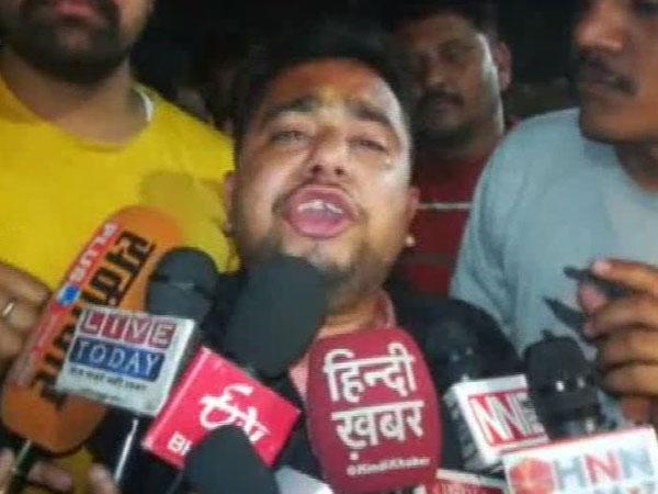 Ashish Pathak, HVY district cordinator, Raebareli speaks to media on Sunday. [Photo/ANI]