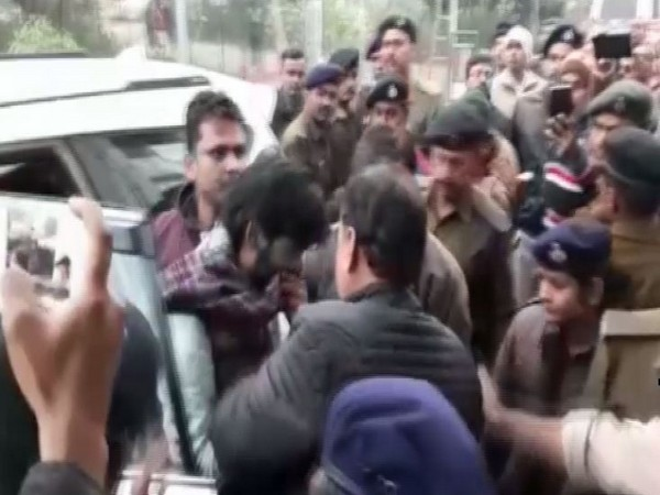 JNU student Sharjeel Imam being brought to a Jehanabad court on Tuesday. Photo/ANI