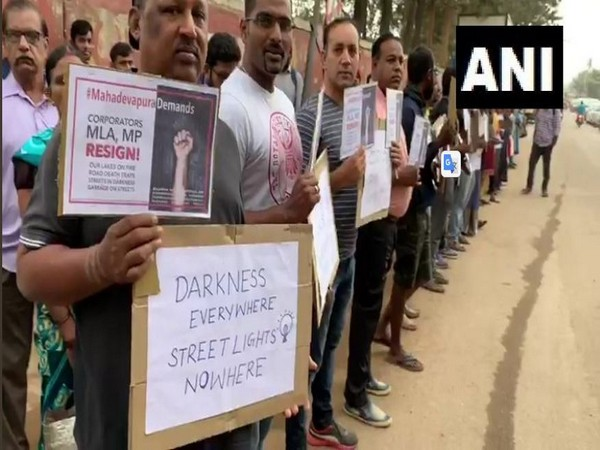 Residents of Bengaluru staged a protest against lack of proper infrastructure in some areas of the city on Friday. Photo/ANI