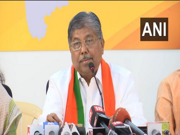 BJP State President Chandrakant Patil speaking to reporters in Mumbai on Tuesday. Photo/ANI