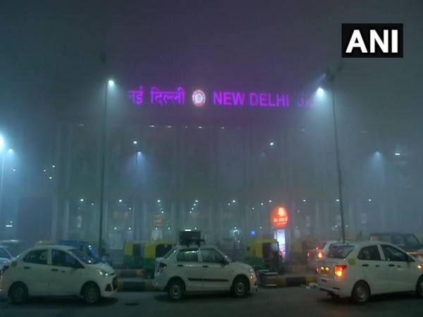 A layer of fog engulfed New Delhi Railway Station on Monday morning (Photo/ANI)
