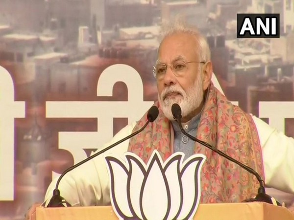 Prime Minister Narendra Modi speaking at a rally in New Delhi on Sunday. Photo/ANI