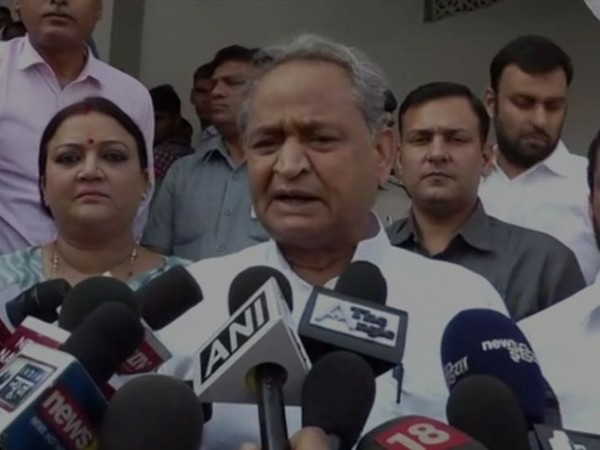 Rajasthan Chief Minister Ashok Gehlot while speaking to the reporters on Tuesday (Photo/ANI)