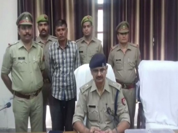 Hasanpur Kotwali police, Amroha district arrested a man for posing as a fake sub-inspector. (Photo/ANI)