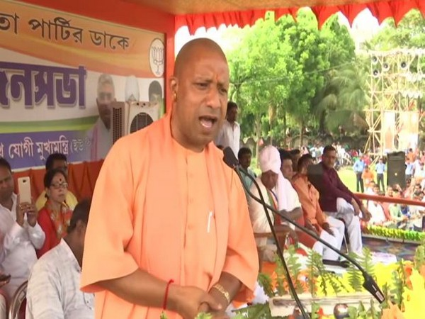 UP Chief Minister Yogi Adityanath addressing an election rally in Berhampore on Monday. Photo/ANI