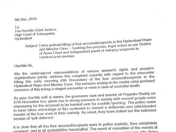 Letter written to Telangana High Court's Chief Justice (Photo/ANI)