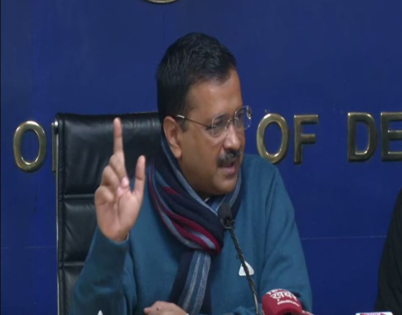 Delhi Chief Minister Arvind Kejriwal addressing a press conference on Monday (Photo/ANI)