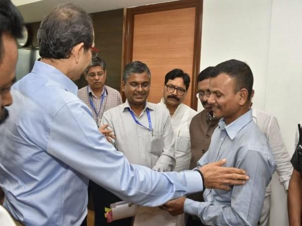Chief Minister Udhhav Thackeray meets Santosh Sable in Mumbai on Tuesday (Photo/ANI)