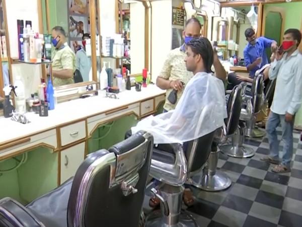 Visual from a salon in Hyderabad, Telangana (Photo/ANI)