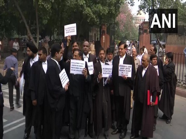 Lawyers staged a protest against the Tis Hazari court incident on Monday. Photo/ANI
