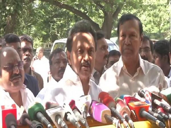 DMK Chief MK Stalin speaking to reporters in Chennai on Monday. Photo/ANI