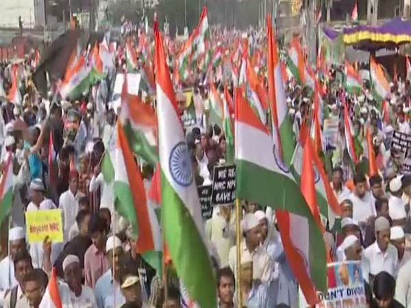 A visual from the massive rally organised in Hyderabad against CAA, NRC on Friday. Photo/ANI