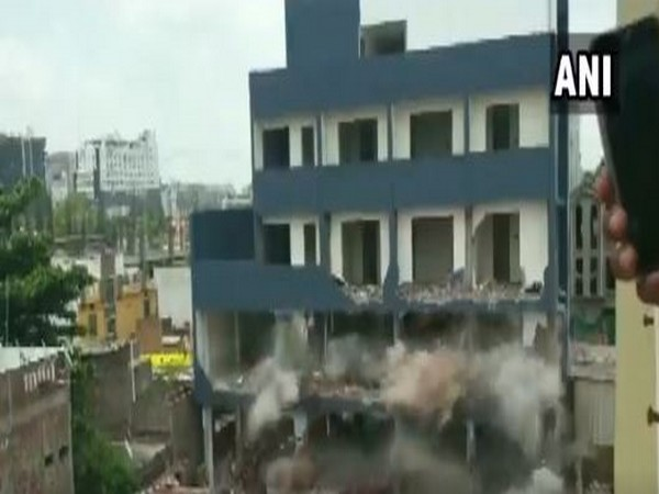 The multi-storied building was razed to the ground with a controlled explosion.. Photo/ANI
