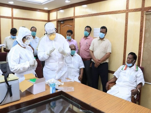 COVID-19 test conducted for Chief Minister V Narayansamy, Assembly Speaker VP Sivakolundu along with others (Photo/ANI)