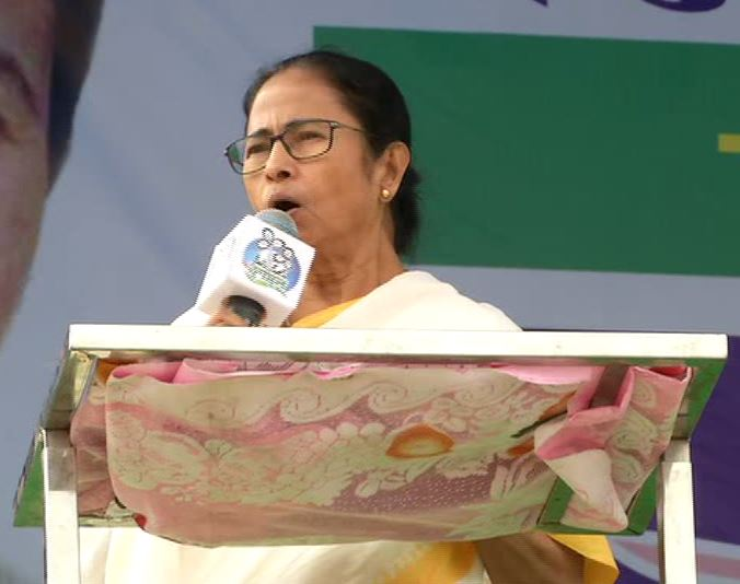 West Bengal Chief Minister Mamta Banerjee addressing election rally in Cooch Behar on Thursday. Photo/ANI