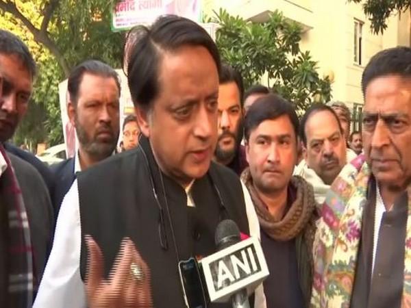 Congress leader Shashi Tharoor speaking to ANI in New Delhi on Sunday. Photo/ANI