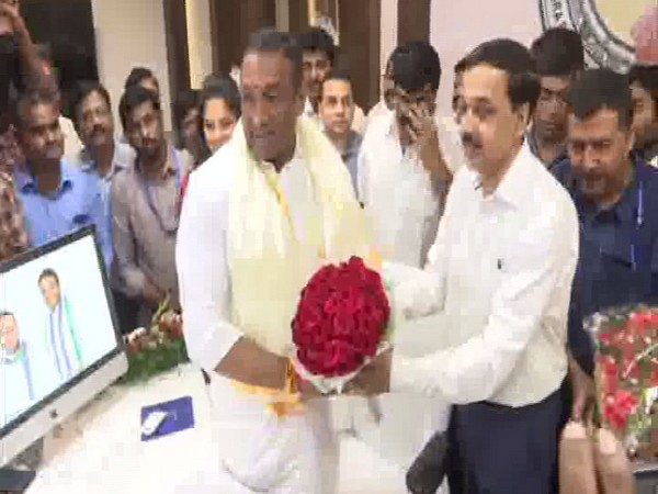 Goutham Reddy takes charge as Andhra Pradesh IT Minister (Photo/ANI)