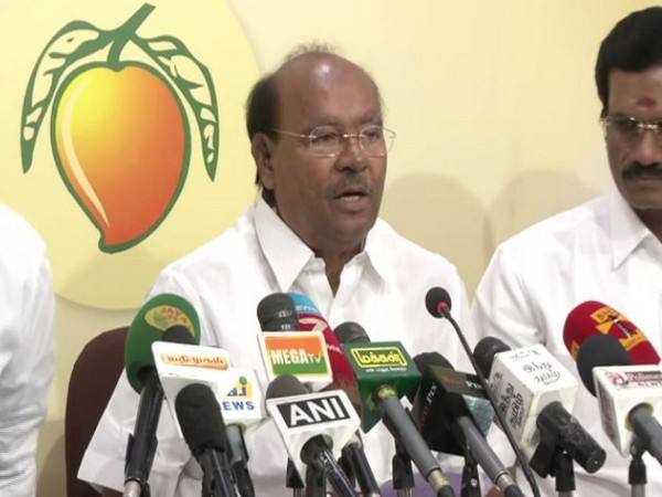 PMK founder S Ramadoss at a press conference. Photo/ANI