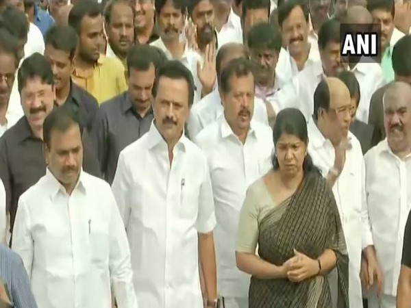 DMK President MK Stalin along with DMK MP Kanimozhi and other party leaders participated in M Karunanidhi's memorial procession on Tuesday. (Photo/ANI)