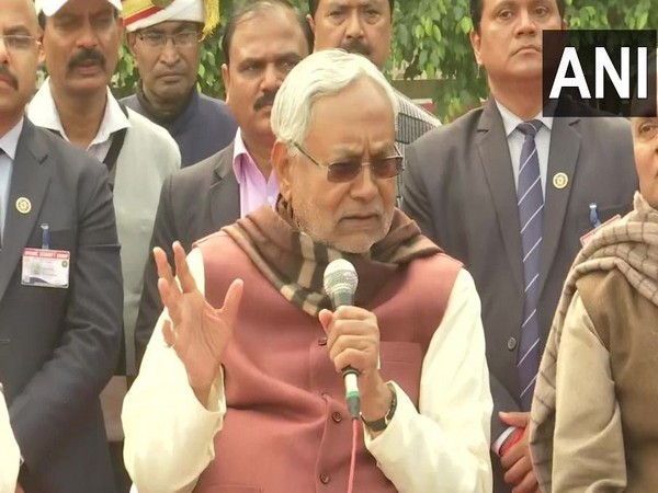 Bihar Chief Minister and JD(U) leader Nitish Kumar while speaking to reporters in Patna on Tuesday. Photo/ANI