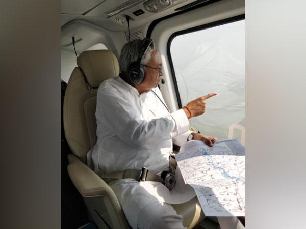Bihar CM Nitish Kumar conducts aerial survey of flood-affected areas in Madhubani