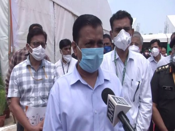 Delhi Chief Minister at DRDO-built Sardar Vallabhbhai Patel COVID19 Hospital on Sunday. (Photo/ANI)