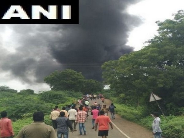 Visuals from the factory where an explosion took place in Dhule district of Maharashtra on Saturday morning. Photo/ANI