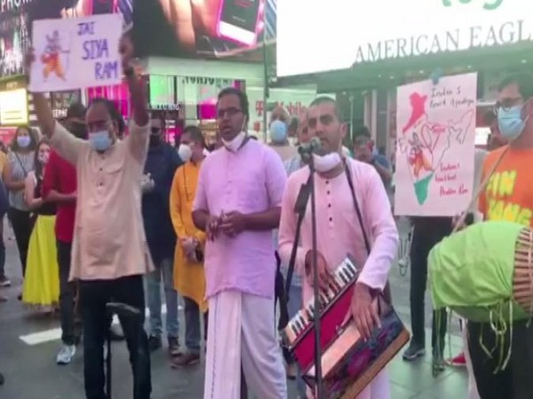 People singing bhajans at New York's Times Square. (Photo/ANI)