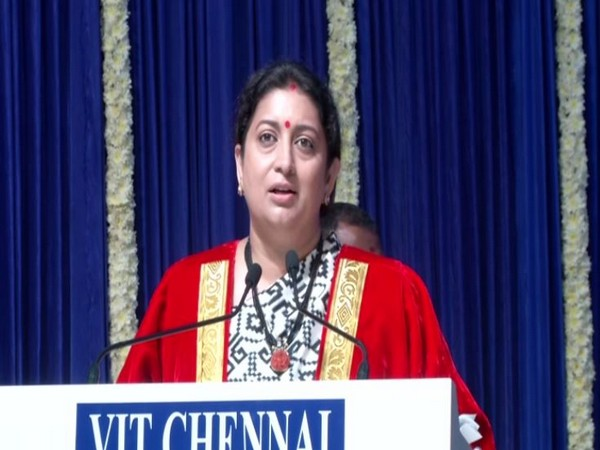 Union Minister Smriti Irani speaking at the convocation ceremony at VIT in Chennai on Tuesday. Photo/ANI