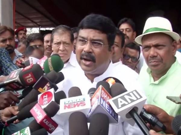 Union Minister Dharmendra Pradhan speaking to reporters in Bhubaneswar on Sunday. Photo/ANI