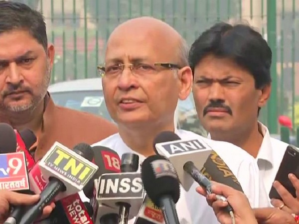 Congress leader Abhishek Manu Singhvi speaking to reporters in New Delhi on Wednesday. Photo/ANI