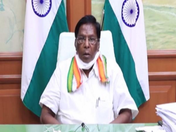 Puducherry Chief Minister Velu Narayanasamy during the cabinet meeting (Photo/ANI)