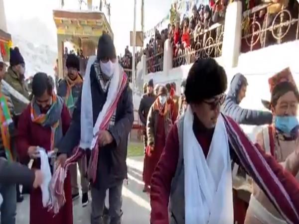 Prahlad Patel at Kargil's Mulbekh Monastery (Pic Credit:  Ministry of Culture Twitter)