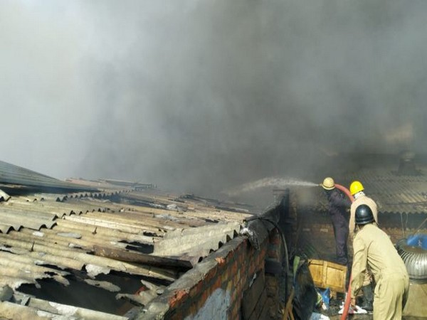 A factory caught fire in Rohini on Thursday (Photo/ANI)