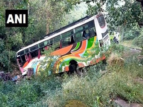 A bus met with an accident on old Pune-Mumbai highway near Bhor Ghat on Monday. (Photo/ANNI)