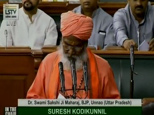 Sakshi Maharaj taking oath as Member of Parliament on Tuesday. Photo/ANI